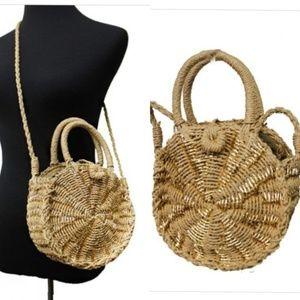 Handbags - Straw Round Cross Body Bag